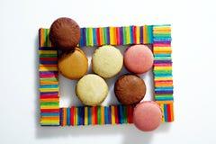 在框架的Macarons 免版税图库摄影