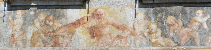 在案件Cazuffi-Rella的壁画在特伦托 免版税图库摄影