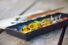 在桌上是调色板、刷子和花款冬 图库摄影