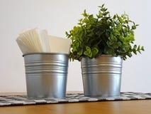 在桌上的两个装饰桶 库存照片
