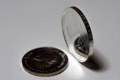 在桌上的两枚银币,欧洲硬币 5欧元硬币和变成银色20欧元 免版税库存图片