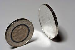 在桌上的两枚银币,欧洲硬币 5欧洲硬币和变成银色20枚欧洲硬币 免版税库存照片