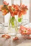 在桌上的五颜六色的郁金香 免版税库存照片