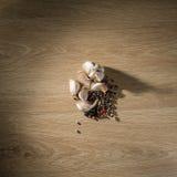 在桌上的大蒜和胡椒混合物 图库摄影