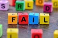 在桌上的失败词 免版税库存图片