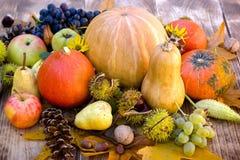 在桌上的季节性收获-吃健康食物有机水果和蔬菜 免版税图库摄影
