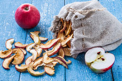 在桌上的新鲜的成熟苹果和在一个亚麻制袋子的干苹果 免版税库存图片