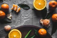 在桌上的柑橘:普通话,与刀子的蜜桔 新鲜的有机水多的果子 免版税图库摄影
