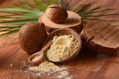 在桌上的椰子面粉 库存照片