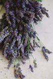 在桌上的淡紫色花 图库摄影