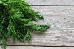在桌上的湿绿色莳萝 库存图片