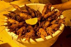 在桌上的煮沸的小龙虾在碗夜 库存照片