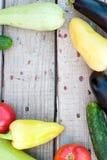 在桌上的秋天菜-蕃茄,胡椒,茄子, zu 免版税库存图片