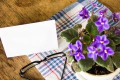 在桌上的精美紫色紫罗兰 免版税图库摄影