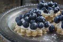 在桌上的蓝莓点心 免版税图库摄影