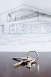 在桌上的议院钥匙 库存照片