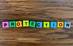在桌上的词保护 免版税库存图片