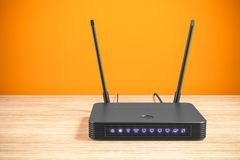 在桌上的黑无线互联网路由器在内部3d 向量例证