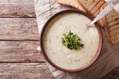 在桌上的Du巴里French白色汤 水平的顶视图 库存照片