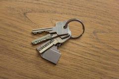 在桌上说谎的一个钥匙串 免版税库存照片