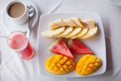 在桌关闭的健康早餐 免版税库存照片