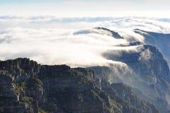 在桌山的壮观的日落 库存照片