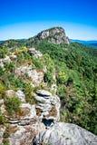 在桌岩石山nc顶部的风景视图 免版税库存照片