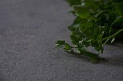 在桌特写镜头的绿色荷兰芹,背景 库存照片