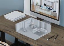 在桌面上的内部模型 3d塑造 库存例证