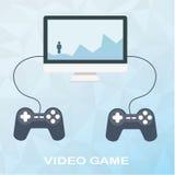 在桌面上的电子游戏有在平的样式的两根控制杆的在多角形背景 人在山克服障碍,上升 免版税库存照片