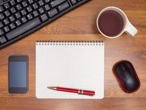 在桌面上的顶视图 免版税库存照片