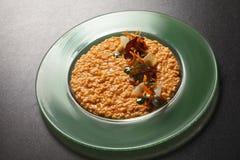 在桌面的意大利煨饭巴马干酪 图库摄影