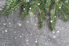 在桌,圣诞节背景上的云杉的枝杈 与拷贝空间的顶视图 库存图片