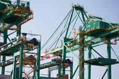 在桑托斯海口的起重机 免版税库存照片
