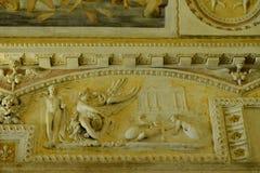 在桑特'安吉洛城堡意大利墙壁上的艺术  库存照片