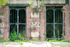 在桑迪勾子新泽西的老地堡门 免版税库存照片