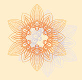 在桔子和淡紫色的明亮的花卉圆样式开花  免版税库存图片