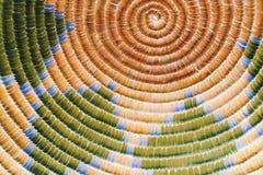 在桔子和绿色的当地美洲印第安人纹理 图库摄影