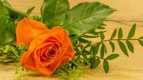 在桔子的花束与一朵红色玫瑰 库存照片