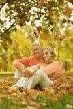 在桔子的年长夫妇 免版税库存照片