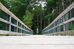 在桥梁单独隔绝的人在杉木森林附近 免版税库存照片