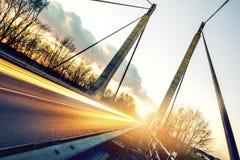 在桥梁的光 免版税库存图片