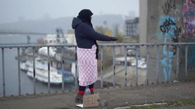 在桥梁的成人无家可归的妇女逗留在冷的有风灰色天气的内河港附近请求施舍 影视素材