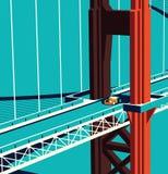 在桥梁的汽车 免版税库存照片