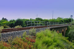 在桥梁的火车铁路 库存照片