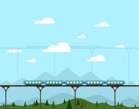 在桥梁的火车 库存照片
