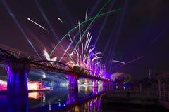 在桥梁的节日在2016年12月10日,北碧,泰国的河Kwai 免版税库存图片