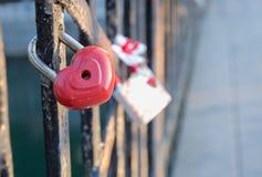 在桥梁的被突出的爱锁 免版税库存图片