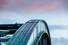 在桥梁的鸽子 图库摄影