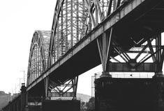 在桥梁距离展望期舒展跟踪的铁路铁路之外 免版税图库摄影